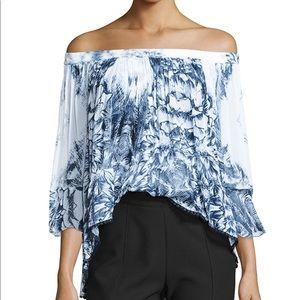 Tryb Morgan Off Shoulder Blue Floral Print Top XS